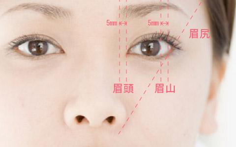 きれいな眉毛の形の図
