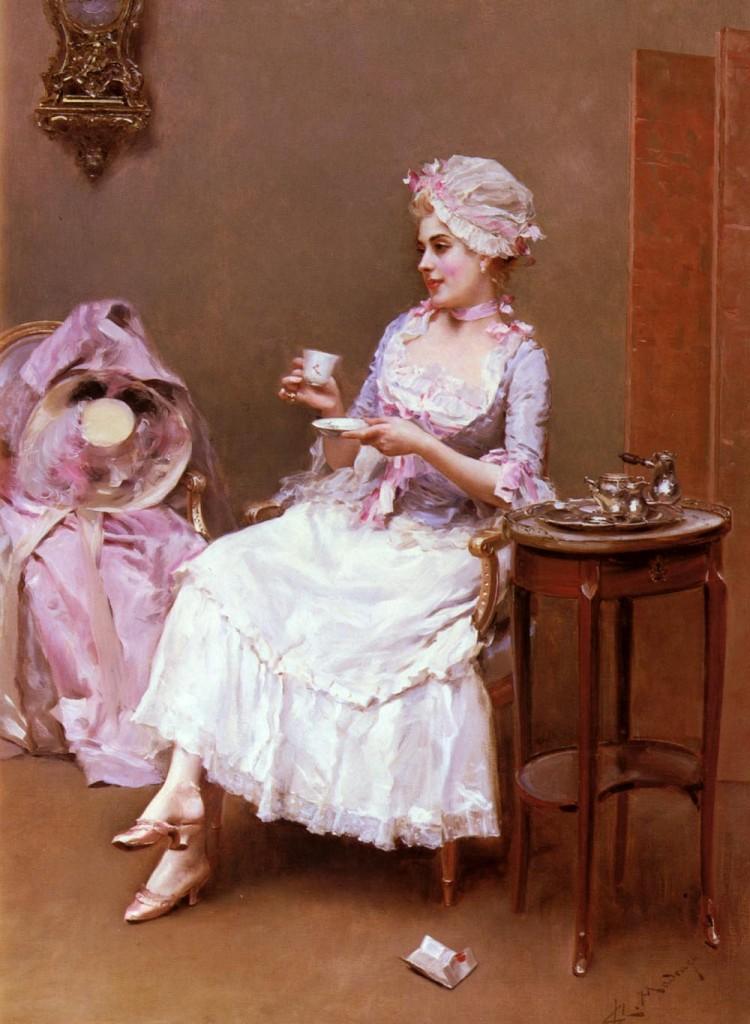 ティータイム中の貴婦人の絵画