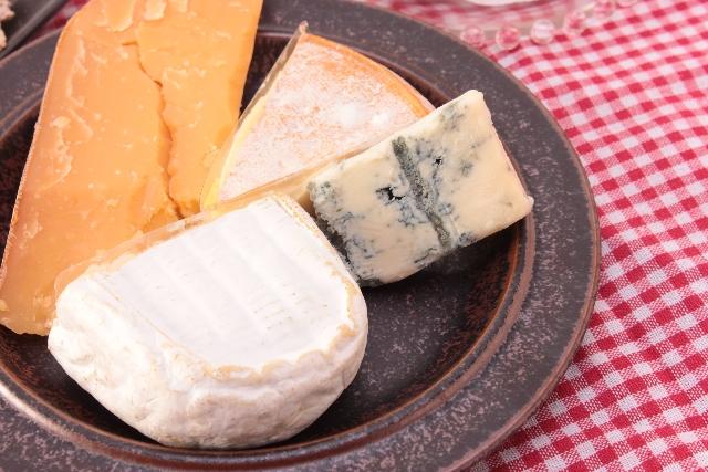 お皿に乗った様々なチーズ