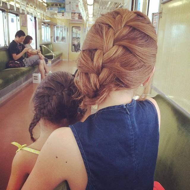 親子お揃いの編み込みヘア