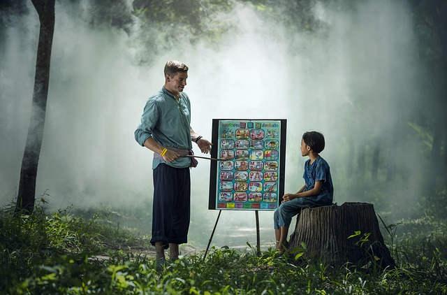 森の中で授業をする先生と生徒