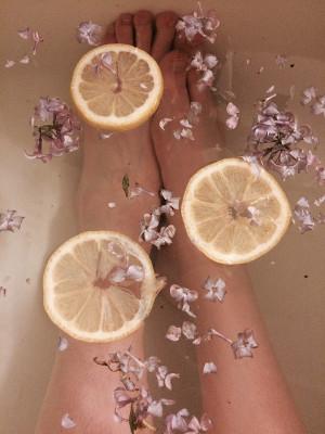 レモンとハーブを入れたお風呂