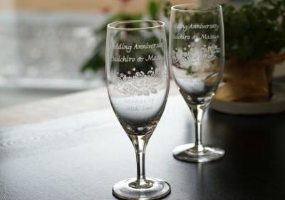 ビールグラス ツインバラ柄 (さとうガラス工房)